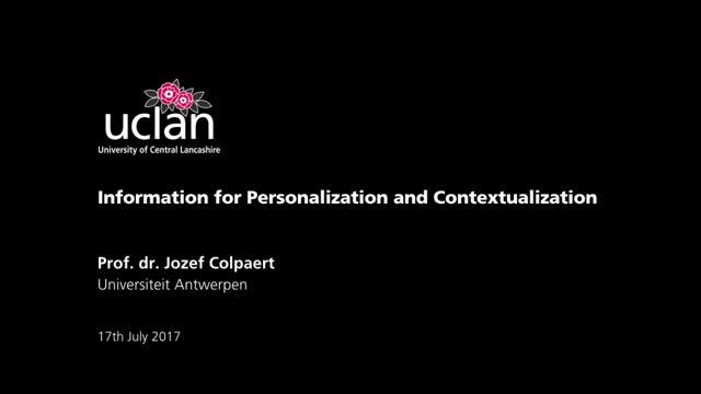 Information for Personalization and Contextualization